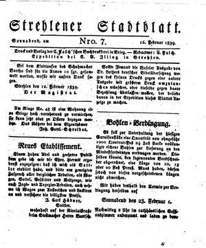 Strehlener Stadtblatt vom 16.02.1839