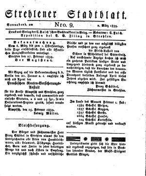 Strehlener Stadtblatt vom 02.03.1839