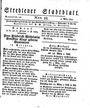 Strehlener Stadtblatt vom 09.03.1839