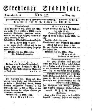 Strehlener Stadtblatt vom 23.03.1839