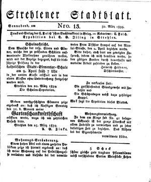 Strehlener Stadtblatt on Mar 30, 1839