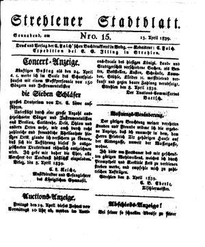Strehlener Stadtblatt vom 13.04.1839