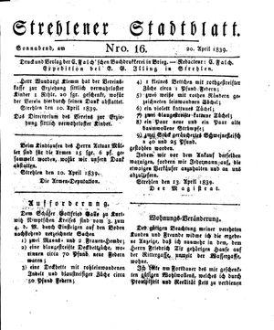 Strehlener Stadtblatt vom 20.04.1839