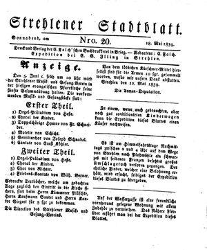 Strehlener Stadtblatt vom 18.05.1839