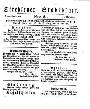 Strehlener Stadtblatt vom 25.05.1839