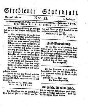 Strehlener Stadtblatt vom 01.06.1839