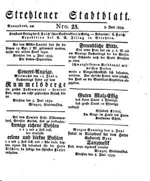Strehlener Stadtblatt vom 08.06.1839