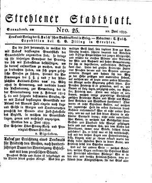 Strehlener Stadtblatt vom 22.06.1839