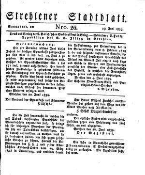 Strehlener Stadtblatt vom 29.06.1839
