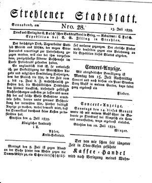 Strehlener Stadtblatt vom 13.07.1839