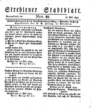 Strehlener Stadtblatt vom 20.07.1839