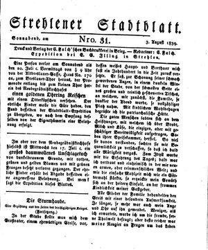 Strehlener Stadtblatt vom 03.08.1839