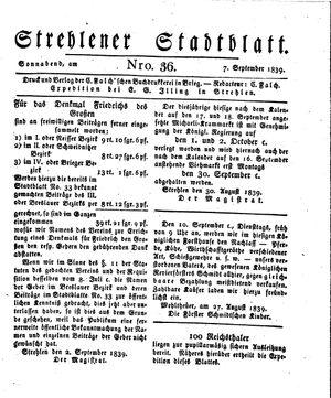 Strehlener Stadtblatt vom 07.09.1839