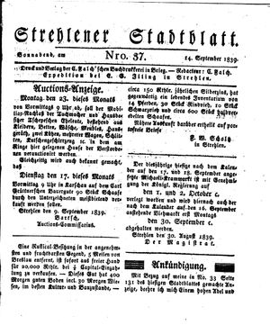 Strehlener Stadtblatt vom 14.09.1839