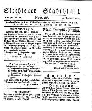 Strehlener Stadtblatt vom 21.09.1839