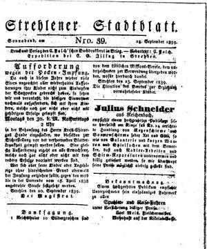Strehlener Stadtblatt vom 28.09.1839
