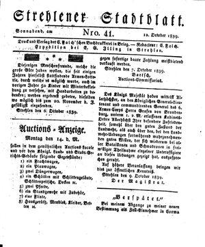 Strehlener Stadtblatt vom 12.10.1839