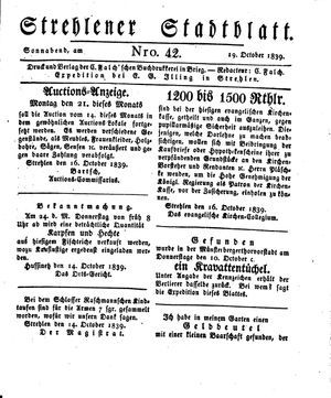 Strehlener Stadtblatt vom 19.10.1839