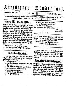 Strehlener Stadtblatt vom 26.10.1839