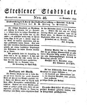 Strehlener Stadtblatt on Nov 16, 1839