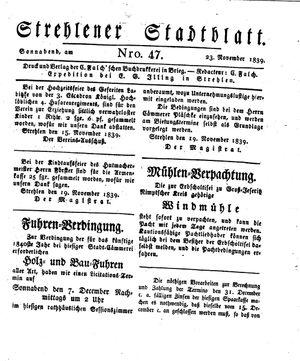Strehlener Stadtblatt vom 23.11.1839