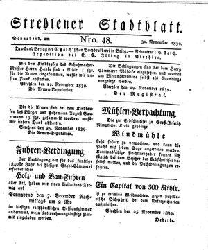 Strehlener Stadtblatt vom 30.11.1839