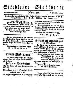 Strehlener Stadtblatt vom 07.12.1839