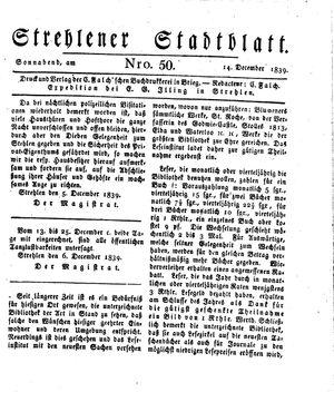 Strehlener Stadtblatt vom 14.12.1839