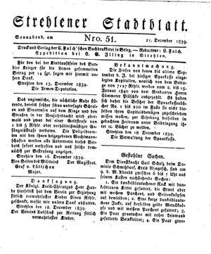 Strehlener Stadtblatt on Dec 21, 1839