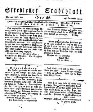 Strehlener Stadtblatt vom 28.12.1839