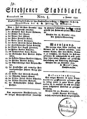 Strehlener Stadtblatt vom 04.01.1840