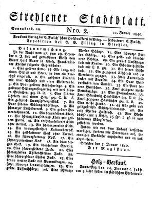 Strehlener Stadtblatt vom 11.01.1840