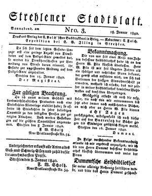 Strehlener Stadtblatt vom 18.01.1840