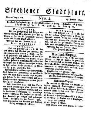 Strehlener Stadtblatt vom 25.01.1840