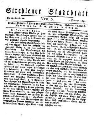 Strehlener Stadtblatt vom 01.02.1840