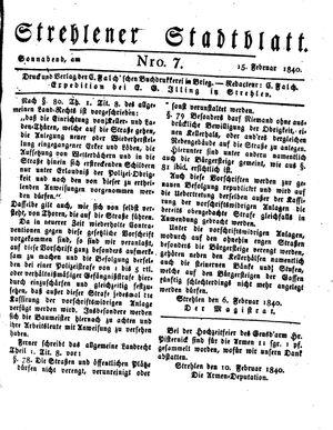 Strehlener Stadtblatt vom 15.02.1840