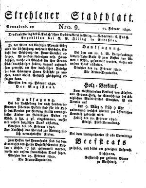 Strehlener Stadtblatt vom 29.02.1840