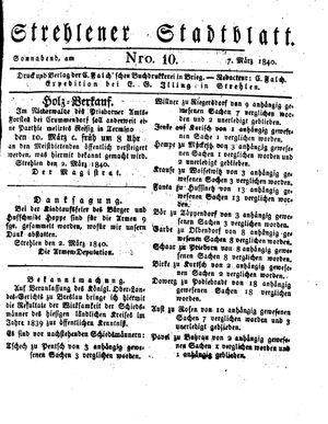 Strehlener Stadtblatt vom 07.03.1840