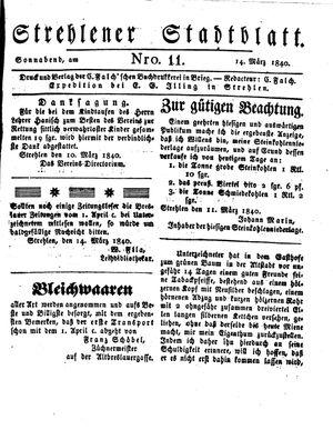 Strehlener Stadtblatt vom 14.03.1840