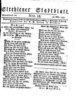 Strehlener Stadtblatt vom 28.03.1840