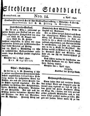 Strehlener Stadtblatt vom 04.04.1840