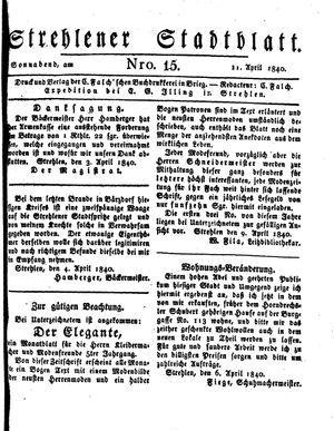 Strehlener Stadtblatt vom 11.04.1840