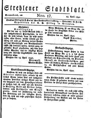 Strehlener Stadtblatt vom 25.04.1840