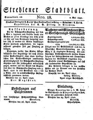 Strehlener Stadtblatt vom 02.05.1840