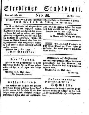 Strehlener Stadtblatt vom 16.05.1840