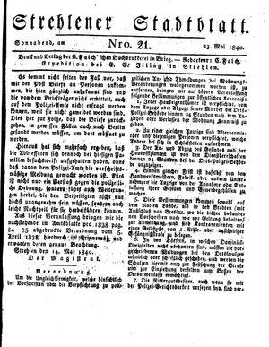 Strehlener Stadtblatt on May 23, 1840