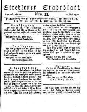 Strehlener Stadtblatt vom 30.05.1840
