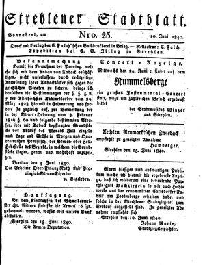 Strehlener Stadtblatt vom 20.06.1840