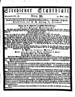 Strehlener Stadtblatt vom 27.06.1840