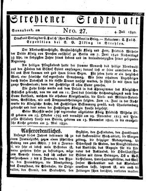 Strehlener Stadtblatt vom 04.07.1840